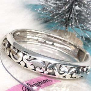 Brighton Silver Pl Swirls Hinged Bangle Bracelet